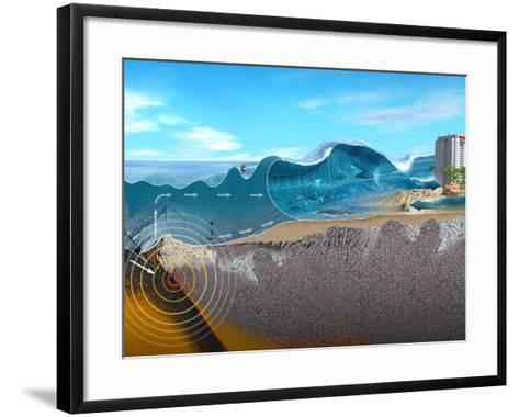 Underwater Earthquake And Tsunami-Jose Antonio-Framed Art Print