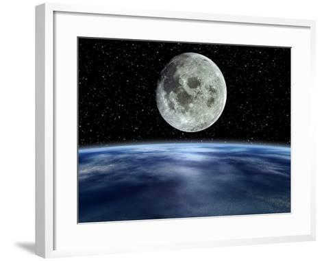 Computer Artwork of Full Moon Over Earth's Limb-Julian Baum-Framed Art Print