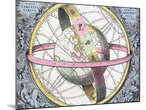 Earth's Celestial Circles, 1708 Artwork-Royal Astronomical Society-Mounted Photographic Print