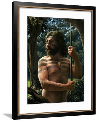 Neanderthal with Shell Ornament, Artwork-Mauricio Anton-Framed Art Print