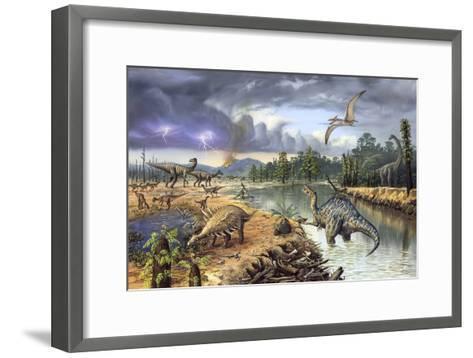 Early Cretaceous Life, Artwork-Richard Bizley-Framed Art Print