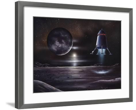 Manned Mission To Charon, Artwork-Richard Bizley-Framed Art Print