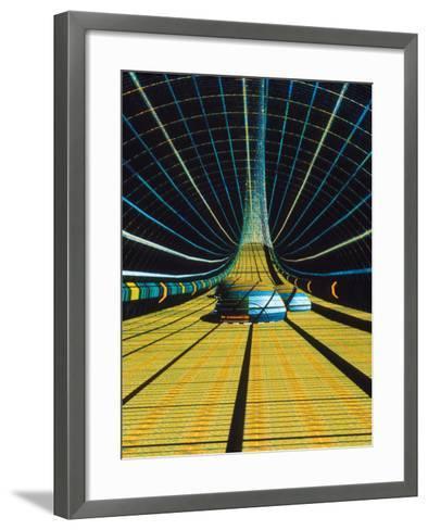 Interior of a Giant Farm Spaceship.-Julian Baum-Framed Art Print