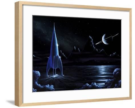Space Rocket And Ringed Planet, Artwork-Richard Bizley-Framed Art Print