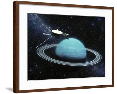 Artwork Showing Voyager 2's Encounter with Uranus-Julian Baum-Framed Art Print