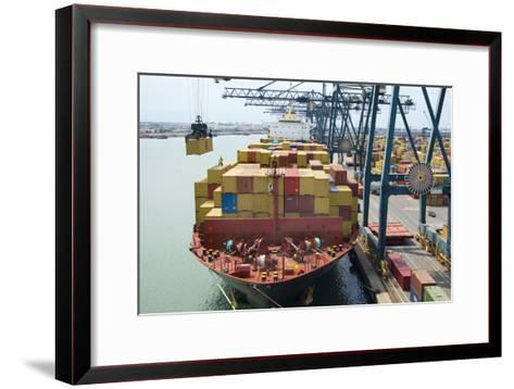Container Ship And Port-Dr. Juerg Alean-Framed Art Print