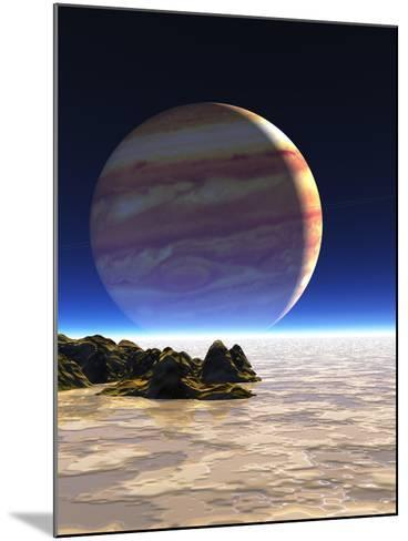Artwork of Europa's Surface with Jupiter In Sky-Julian Baum-Mounted Photographic Print