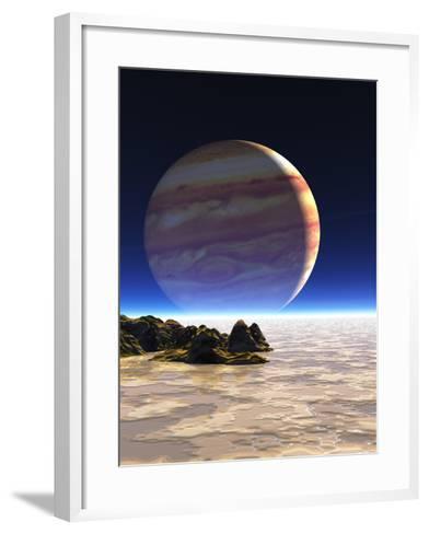Artwork of Europa's Surface with Jupiter In Sky-Julian Baum-Framed Art Print