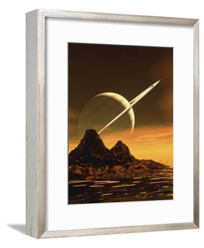Computer Artwork of Titan's Surface And Saturn-Julian Baum-Framed Art Print
