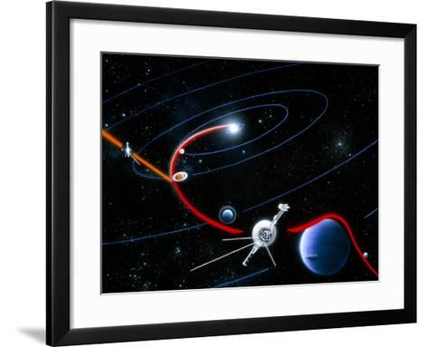 Diagram of Paths Taken by the 2 Voyager Spacecraft-Julian Baum-Framed Art Print