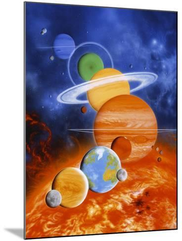 Artwork of Sun And Planets of Solar System-Julian Baum-Mounted Photographic Print