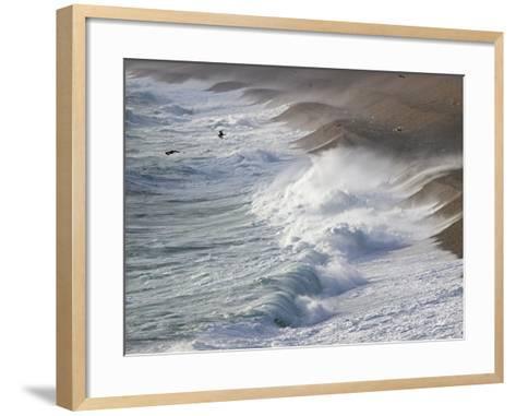 Storm Waves At Chesil Beach-Adrian Bicker-Framed Art Print