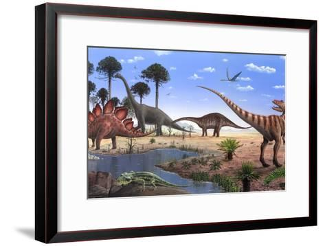 Jurassic Dinosaurs, Artwork-Richard Bizley-Framed Art Print