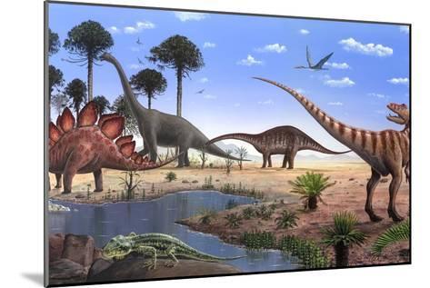 Jurassic Dinosaurs, Artwork-Richard Bizley-Mounted Photographic Print