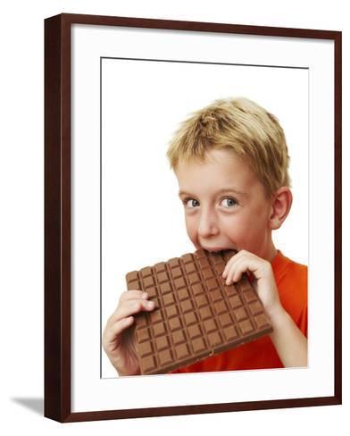 Boy Eating Chocolate-Ian Boddy-Framed Art Print
