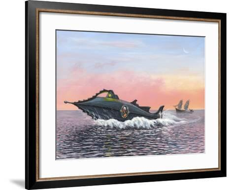 Jules Verne's Nautilus Submarine, Artwork-Richard Bizley-Framed Art Print