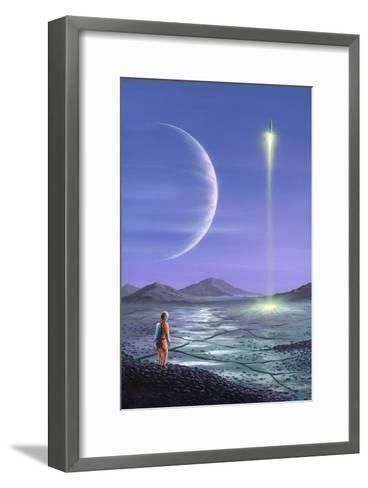 Marooned Astronaut, Space Art-Richard Bizley-Framed Art Print