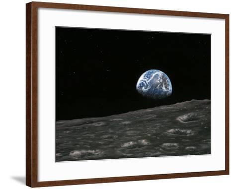 Earthrise Photograph, Artwork-Richard Bizley-Framed Art Print