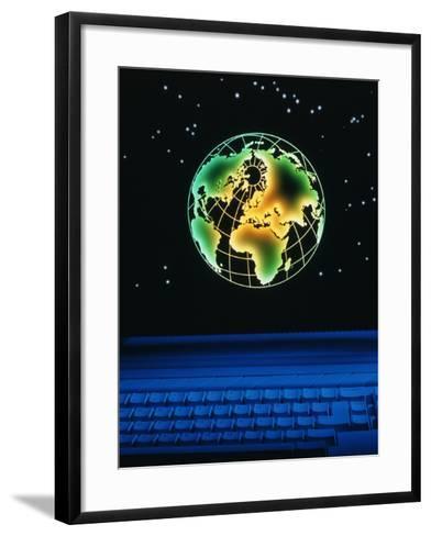 Earth Over Computer Keyboard-Tony Craddock-Framed Art Print