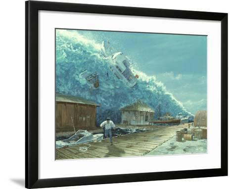 Artwork of a Tsunami Destroying a Small Harbour-Chris Butler-Framed Art Print