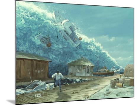 Artwork of a Tsunami Destroying a Small Harbour-Chris Butler-Mounted Photographic Print