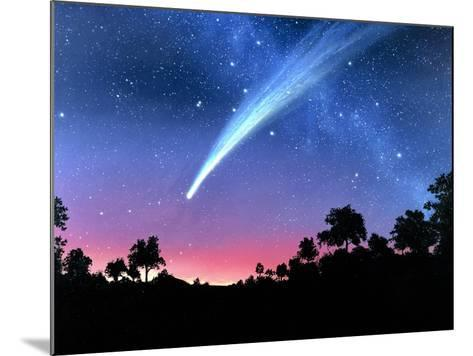 Artwork of Comet Hale-Bopp Over a Tree Landscape-Chris Butler-Mounted Photographic Print