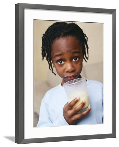 Boy Drinking Milk-Ian Boddy-Framed Art Print