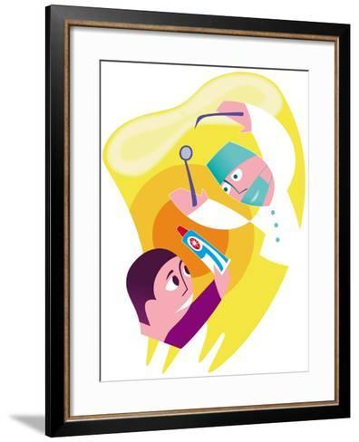 Dentist And Patient-Paul Brown-Framed Art Print