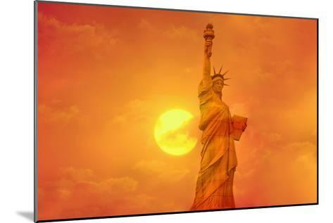 Sunset Behind the Statue of Liberty-Tony Craddock-Mounted Photographic Print