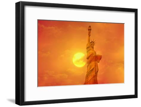 Sunset Behind the Statue of Liberty-Tony Craddock-Framed Art Print