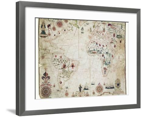 17th Century Nautical Map of the Atlantic-Library of Congress-Framed Art Print