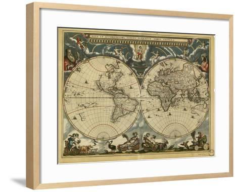 17th Century World Map-Library of Congress-Framed Art Print