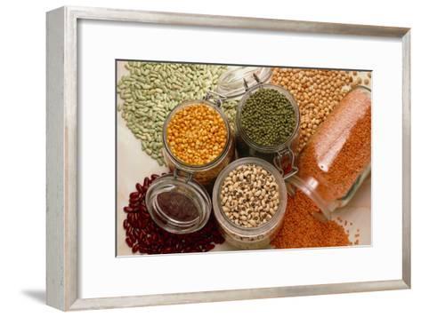 View of An Assortment of Beans And Pulses-Erika Craddock-Framed Art Print
