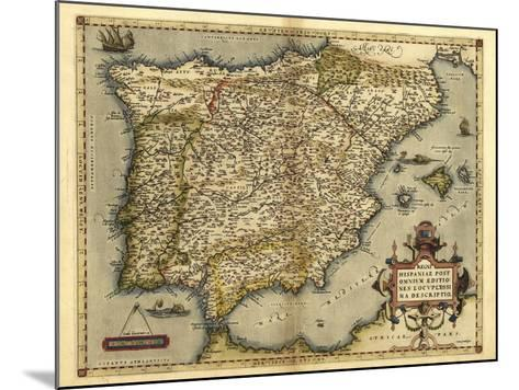 Ortelius's Map of Iberian Peninsula, 1570-Library of Congress-Mounted Photographic Print