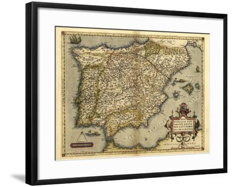 Ortelius's Map of Iberian Peninsula, 1570-Library of Congress-Framed Art Print