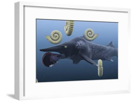 Helicoprion, with Ammonites-Christian Darkin-Framed Art Print