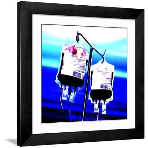 Blood Bags on Drip Stand-Kevin Curtis-Framed Art Print