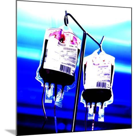 Blood Bags on Drip Stand-Kevin Curtis-Mounted Photographic Print