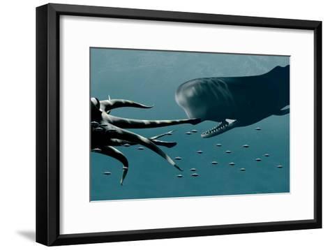 Sperm Whale And Giant Squid-Christian Darkin-Framed Art Print