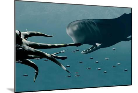 Sperm Whale And Giant Squid-Christian Darkin-Mounted Photographic Print
