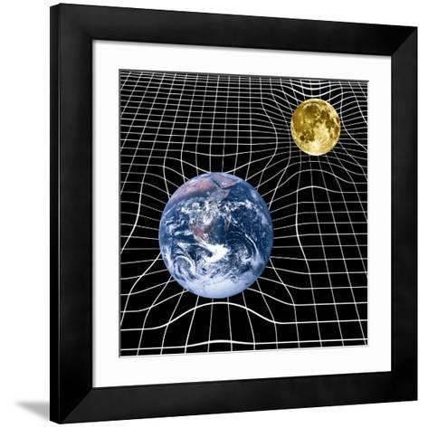 Earth And Moon Space-time Warp, Artwork-Victor De Schwanberg-Framed Art Print