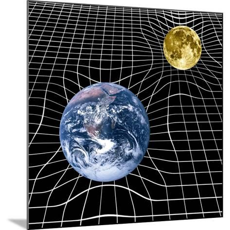 Earth And Moon Space-time Warp, Artwork-Victor De Schwanberg-Mounted Photographic Print