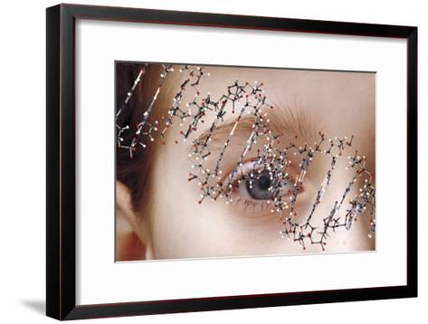 DNA Molecule Over Young Child's Face-Victor De Schwanberg-Framed Art Print