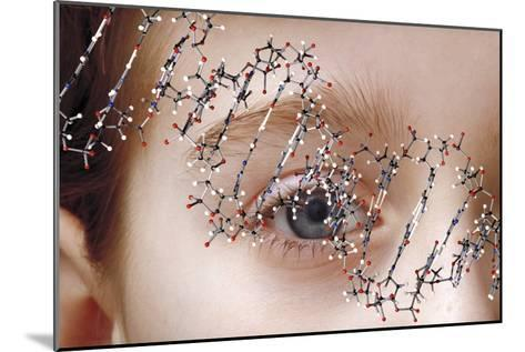 DNA Molecule Over Young Child's Face-Victor De Schwanberg-Mounted Photographic Print
