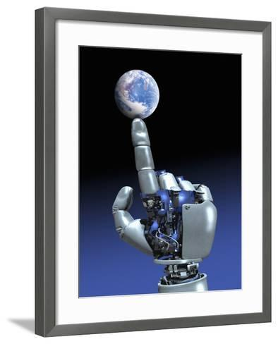 Earth Spinning on Robotic Finger, Artwork-Victor Habbick-Framed Art Print