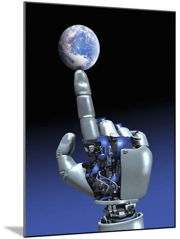 Earth Spinning on Robotic Finger, Artwork-Victor Habbick-Mounted Photographic Print
