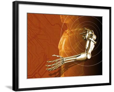 Prosthetic Robotic Arm, Computer Artwork-Victor Habbick-Framed Art Print