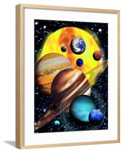 Planets & Their Relative Sizes-Victor Habbick-Framed Art Print