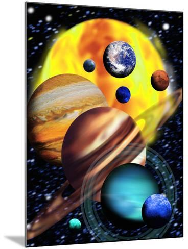 Planets & Their Relative Sizes-Victor Habbick-Mounted Photographic Print