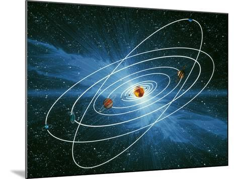 Artwork of the Orbits of the Planets-Victor Habbick-Mounted Photographic Print